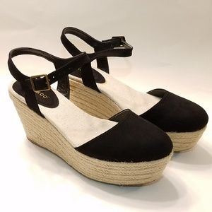 BAMBOO Black Platform Wedges Platform 8 JOE - 01
